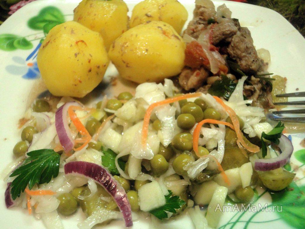 Что подать с салатом из квашеной капусты - фото тарелки