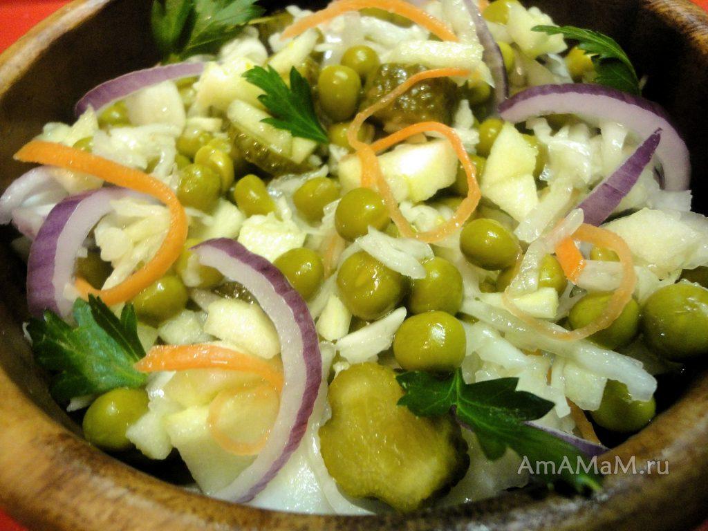 Салат легкий овощной к картошке с мясом - рецепт с квашеной капустой