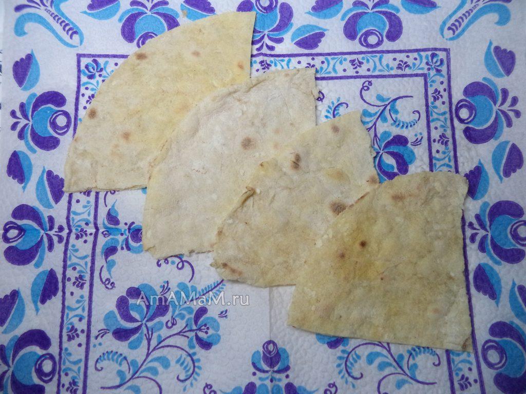 Кусочки лаваша и рецепт приготовления