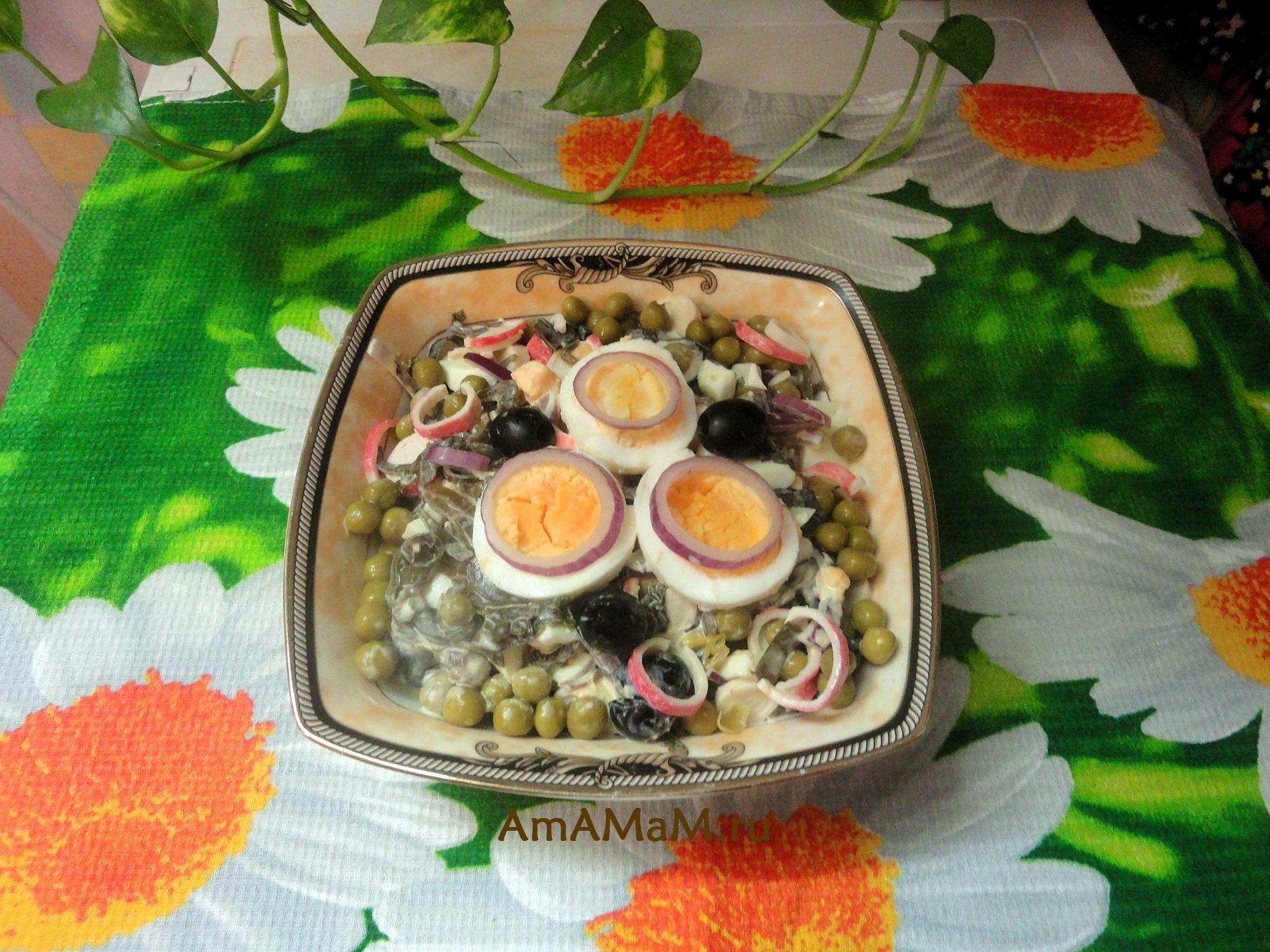 рецепт салатов с морской капустой