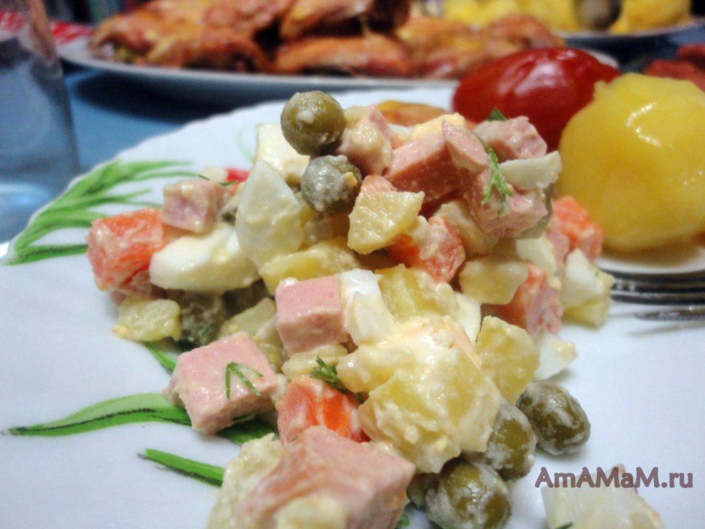 Праздничные салаты - Оливье с колбасой