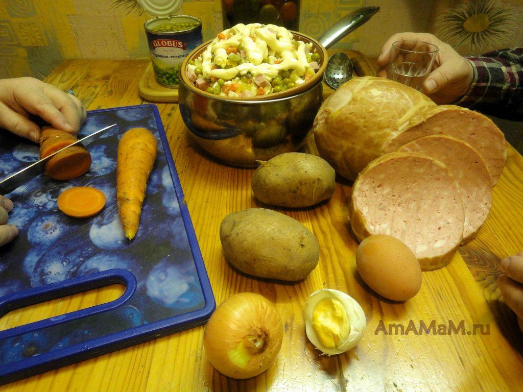 Оливье с колбасой - способ приготовления