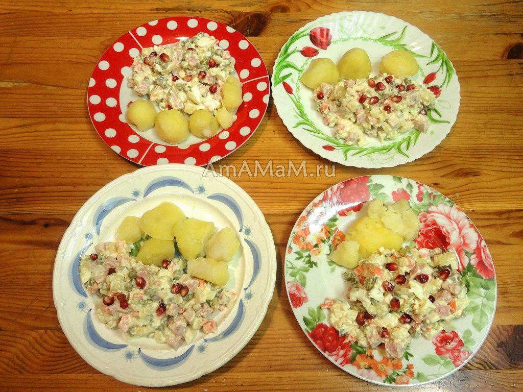 Салат Оливье с колбасой - рецетп и фото