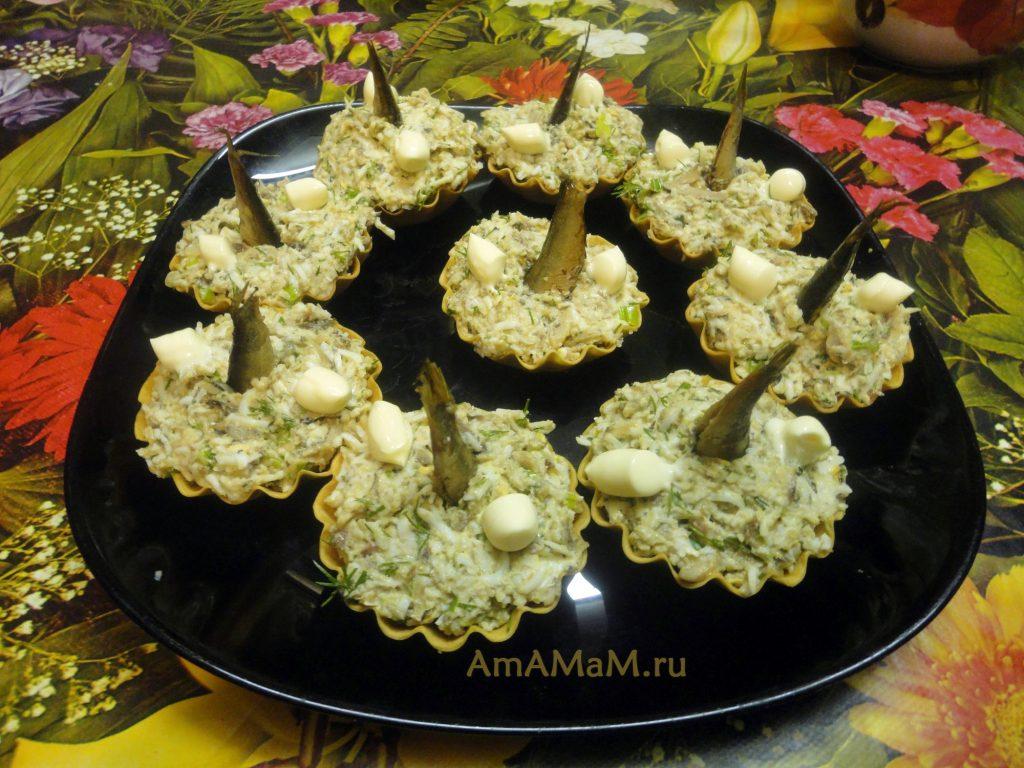 Ныряющие рыбки - шпротный салат в тарталетках