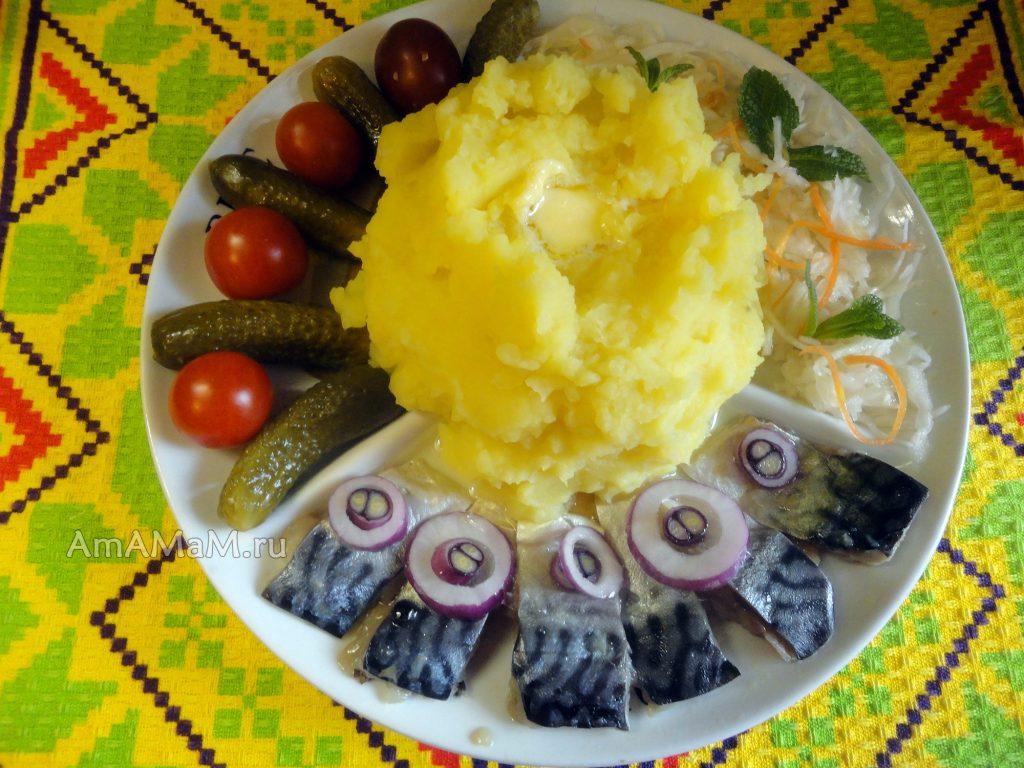 Что подать к ужину - малосольная скумбрия с картошкой и соленьями