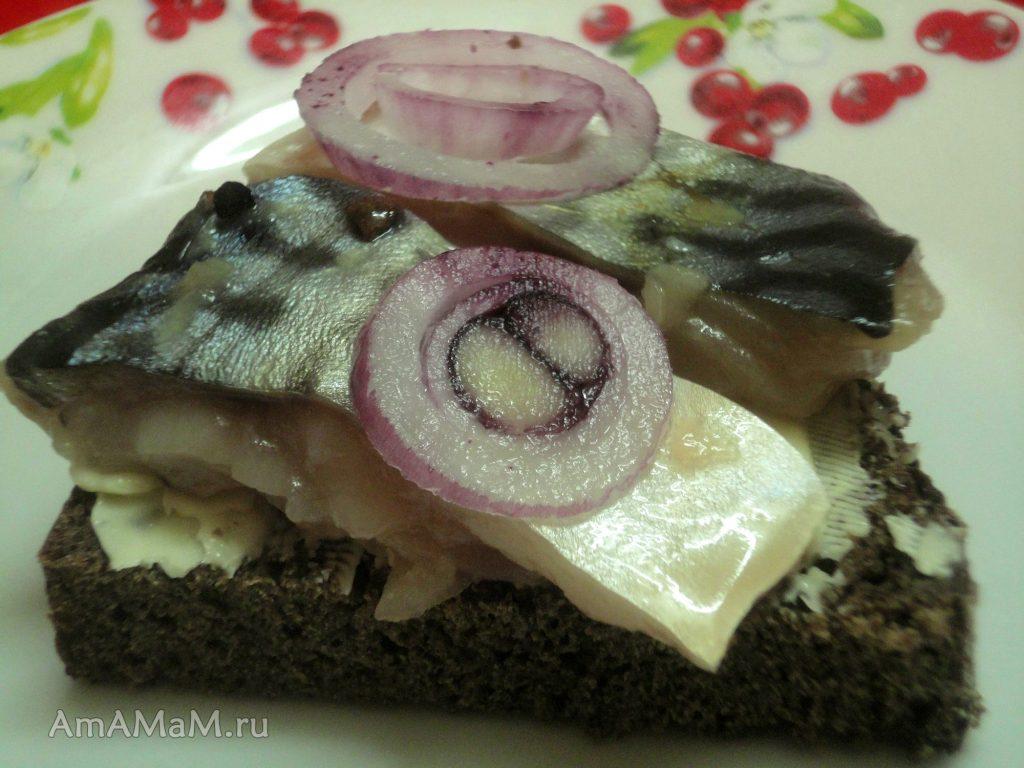 Вкусные и простые бутерброды с малосольной рыбой (скумбрия)