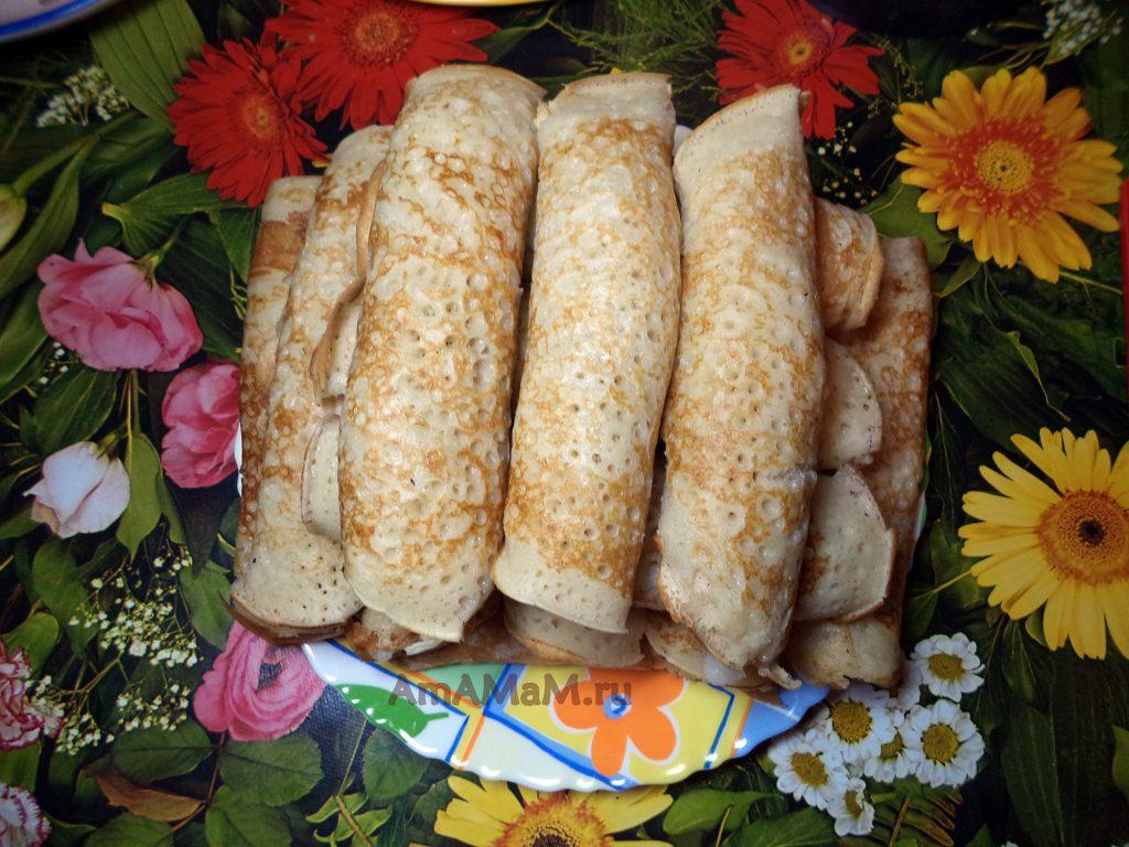 Кремовые трубочки из блинов - рецепт с манной кашей