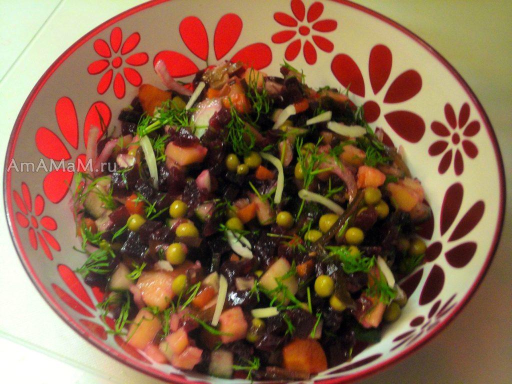 Приготовления винегрета из морской капусты - фото и рецепт