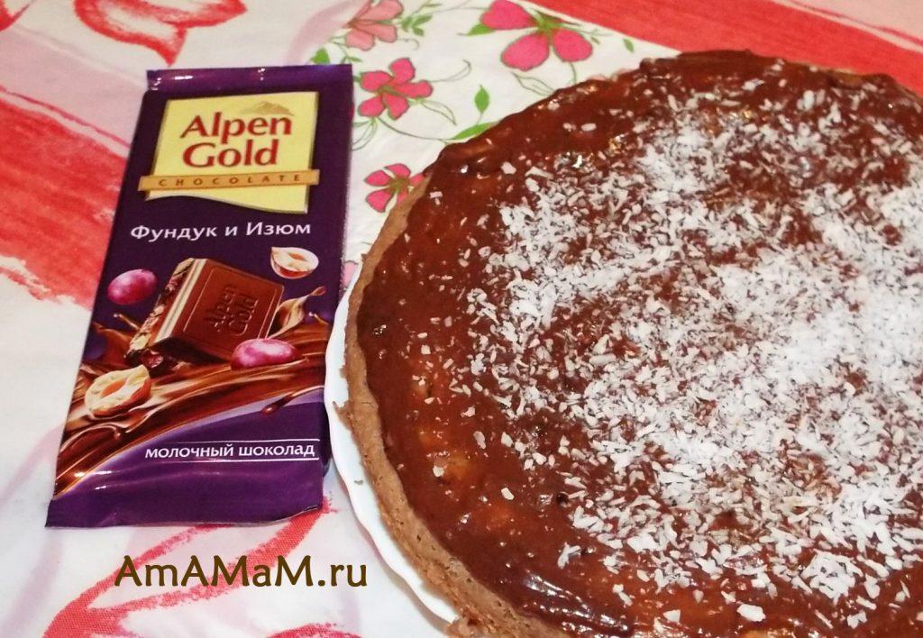 Рецепт пирога с топленым молоком и шоколадками