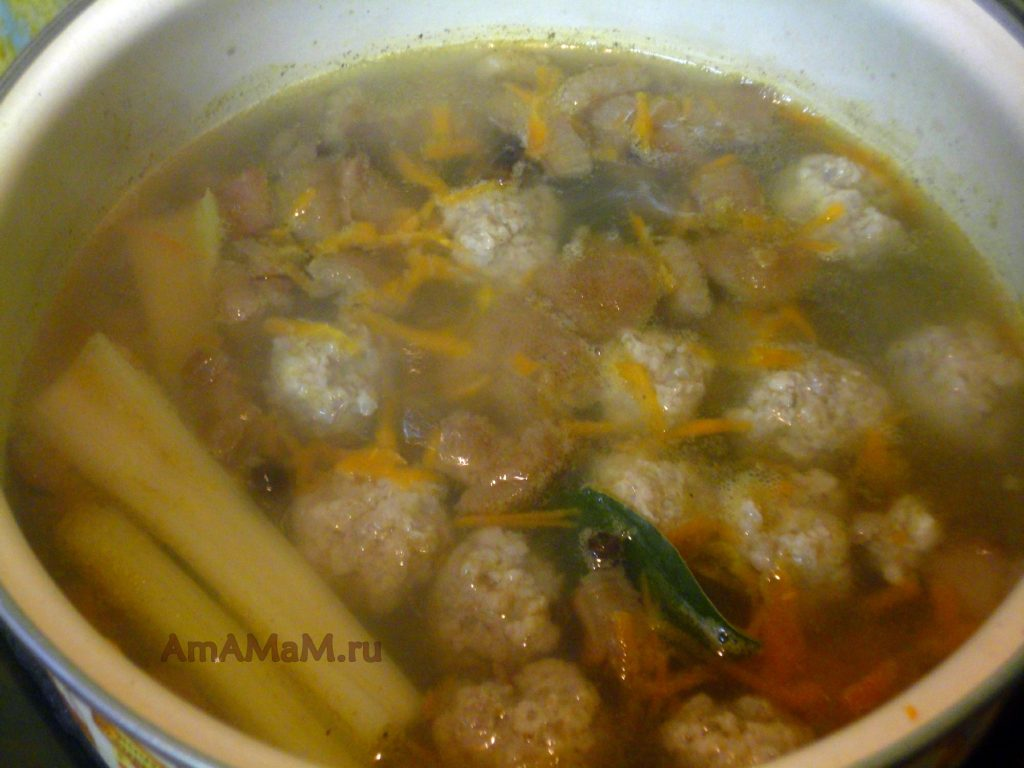 Рецепт вкусного фрикаделькового супа с грибами и фото приготовления