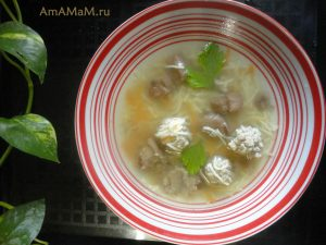 Фрикадельковый суп с вермишелью и грибами (маслята)