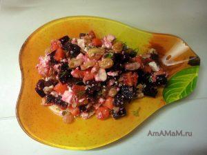 Приготовление салатов со свеклой - вкусный рецепт с адыгейским сыром, изюмом, яблоком и грецким орехом