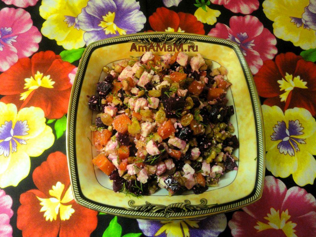 Вкусный и простой свекольный салат с адыгейским сыром