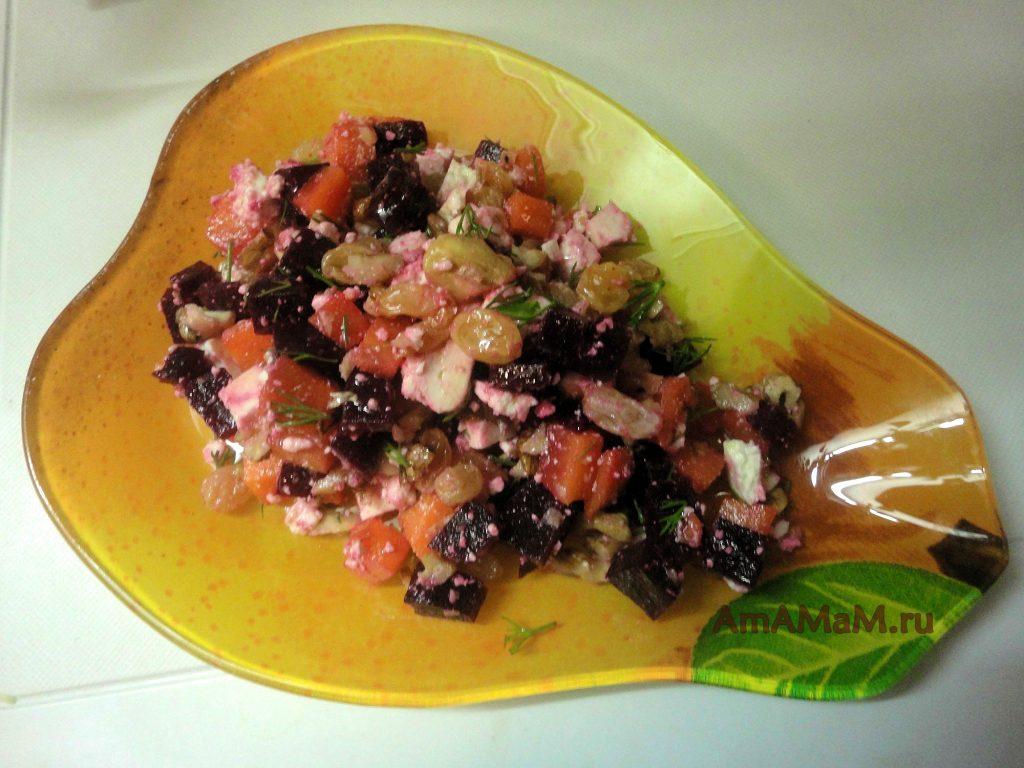 Красивый и простой рецепт салата со свеклой и адыгейским сыром