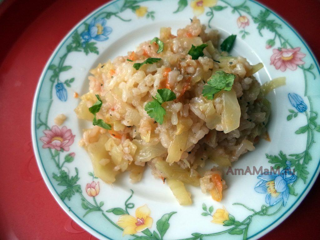 Жареный рис с капустой - простой рецепт приготовления и фото
