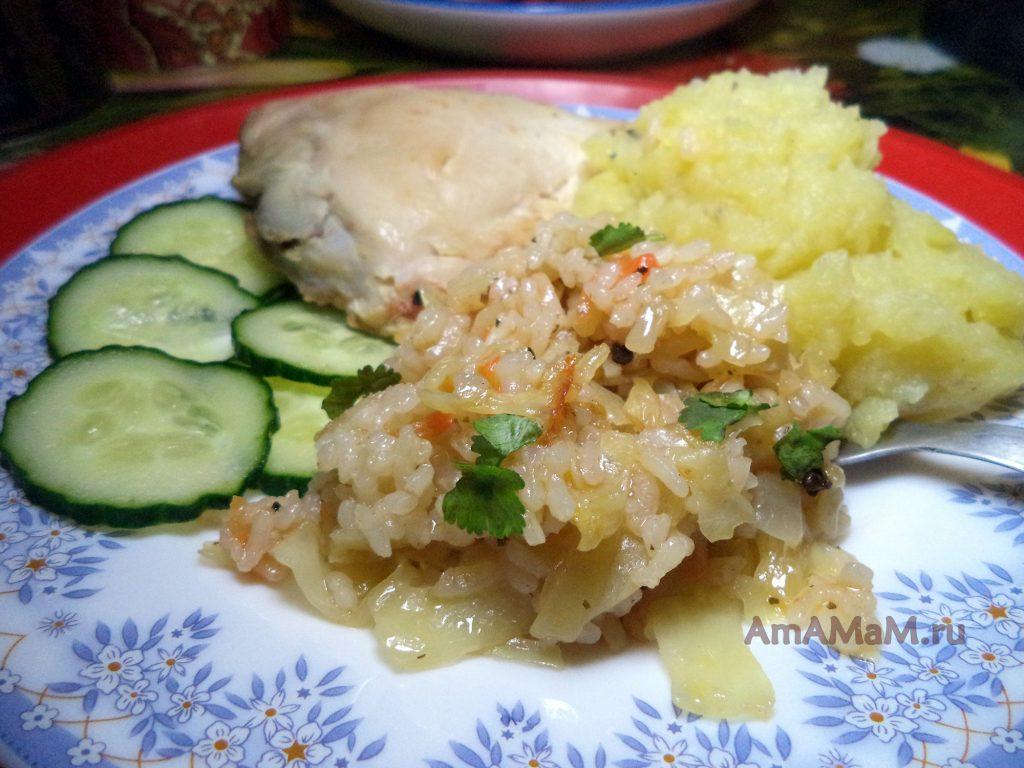 Приготвление блюда из капусты и риса - простой рецепт