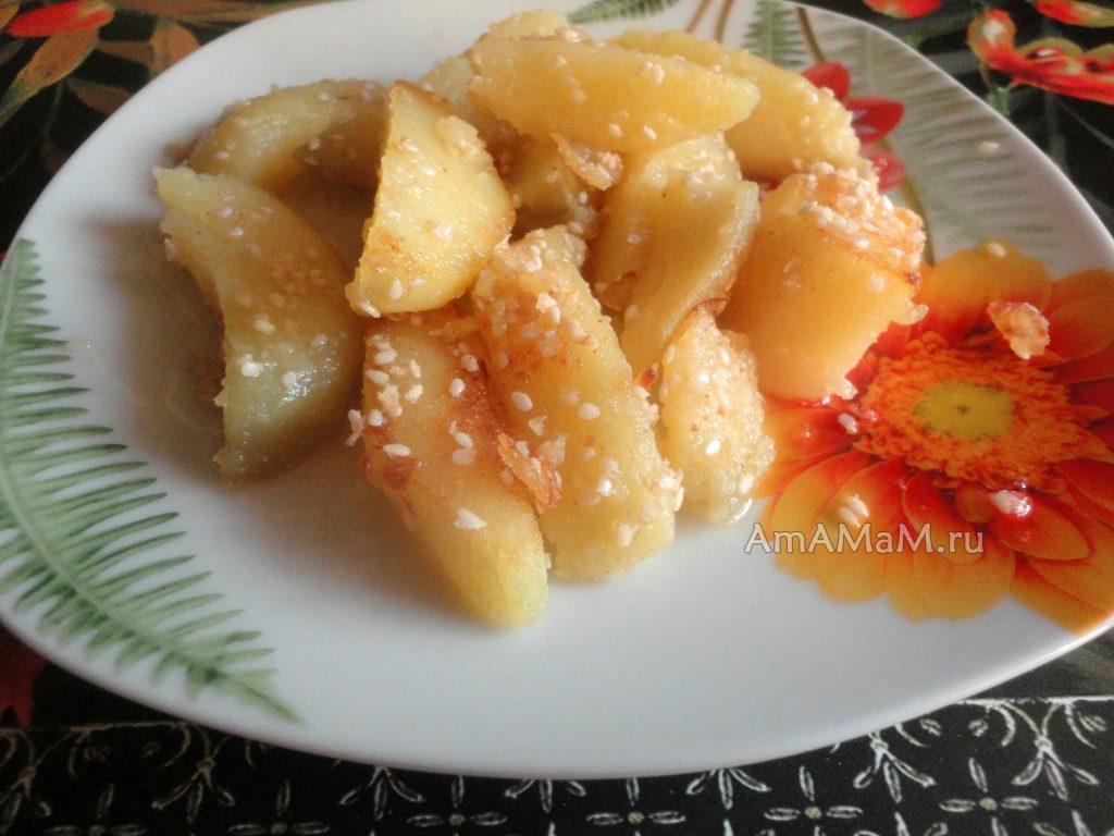 Картошка в кунжуте - способ приготовления