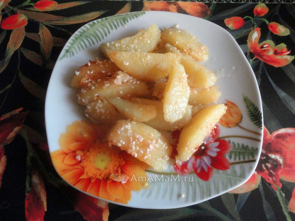 Простые рецепты из картошки- жареный с кунжутом
