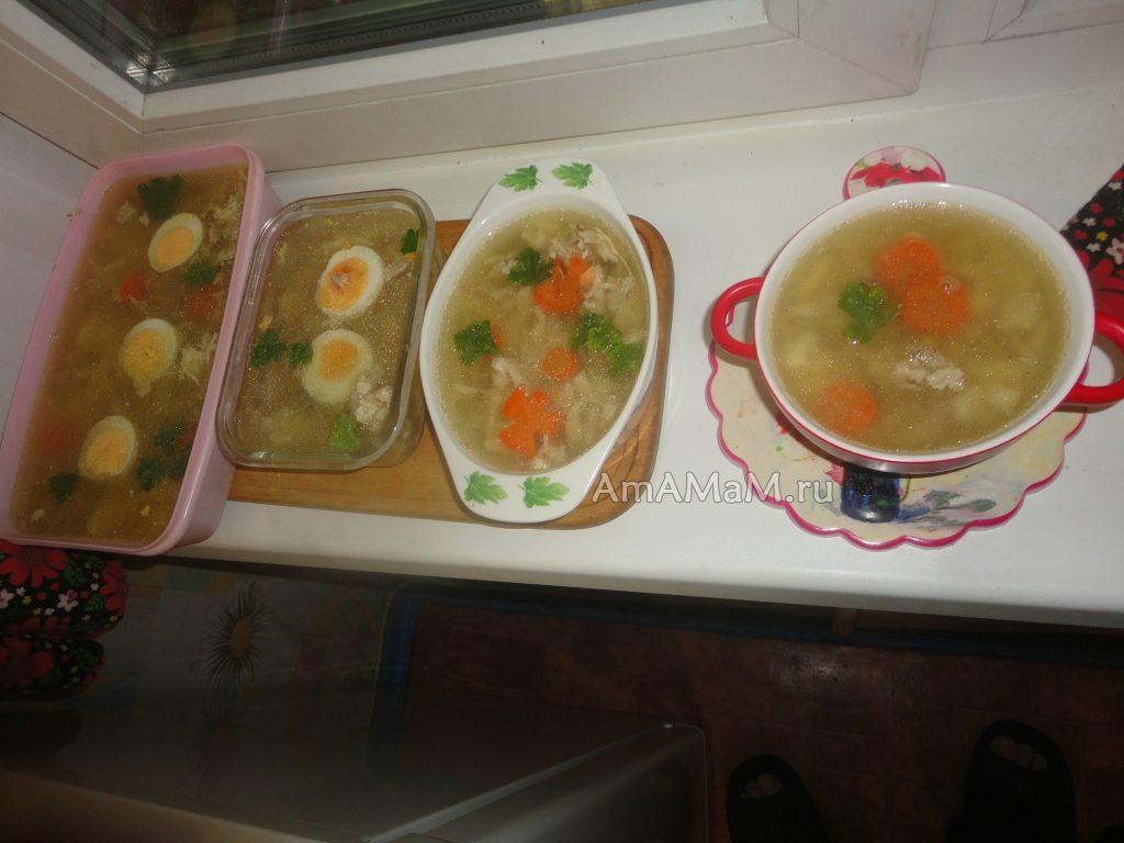 Подробные фото рецепта куриного холодца с желатином