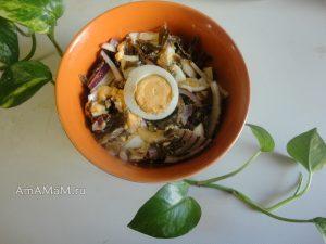 Морская капуста с яйцом - вкусный салат, рецепт и фото