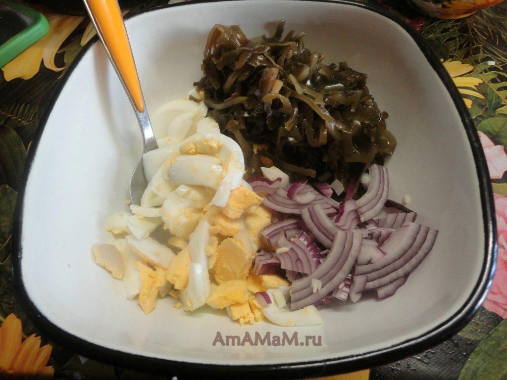 Вкусный салатик с морской капустой - процесс и способ приготовления