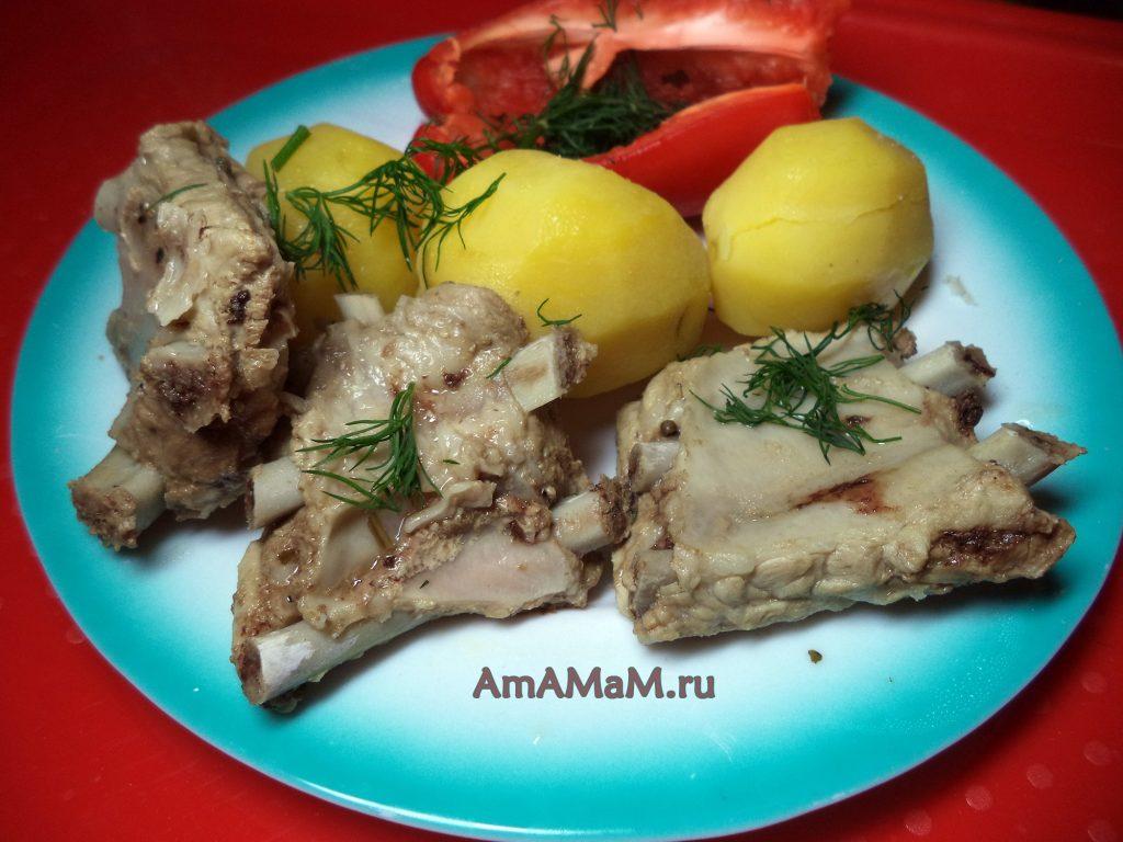 Рецепт ребрышек тушеных (свиных)