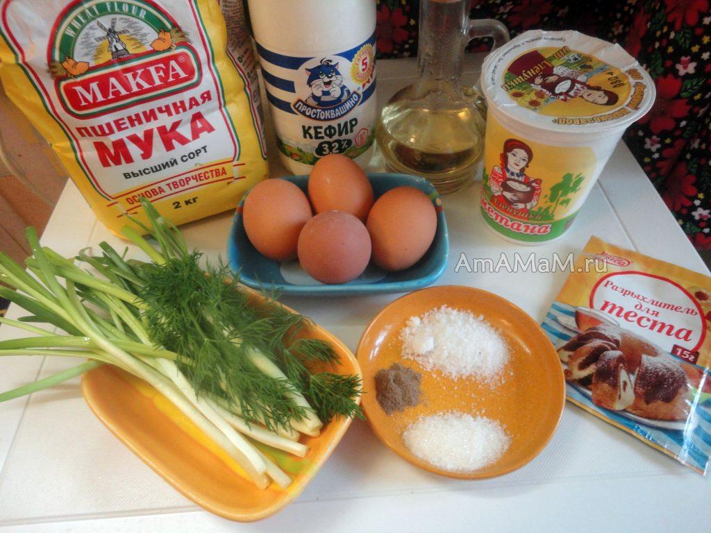 Ингредиенты для рецепта блинчиков с вареными яйцами и зеленым луком с укропом