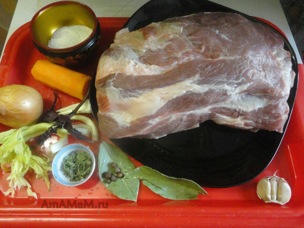 Ингредиенты для вареной свиной шейки