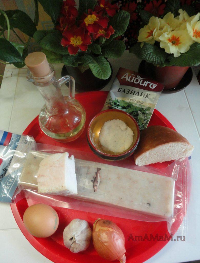 Ингредиенты рецепта котлет из рыбного фарша