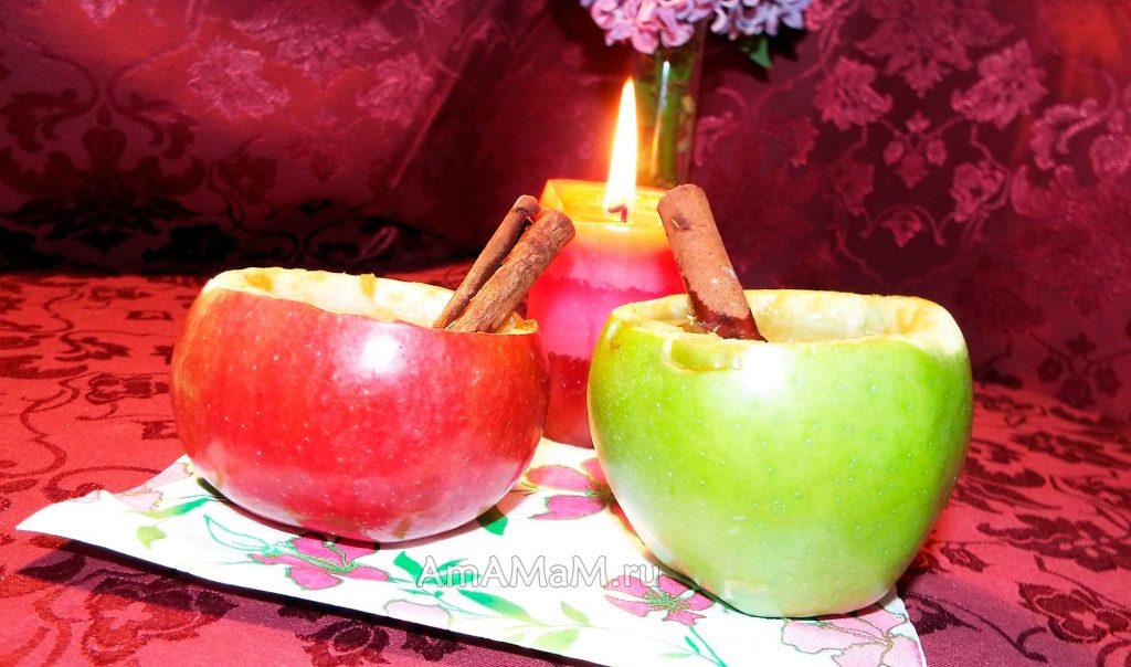 Яблочный напиток с медом и пряностями в съедобных стаканчиках из яблок
