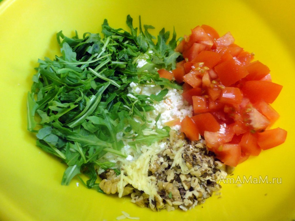 Рецепт салата из творога с рукколой и фото приготовления