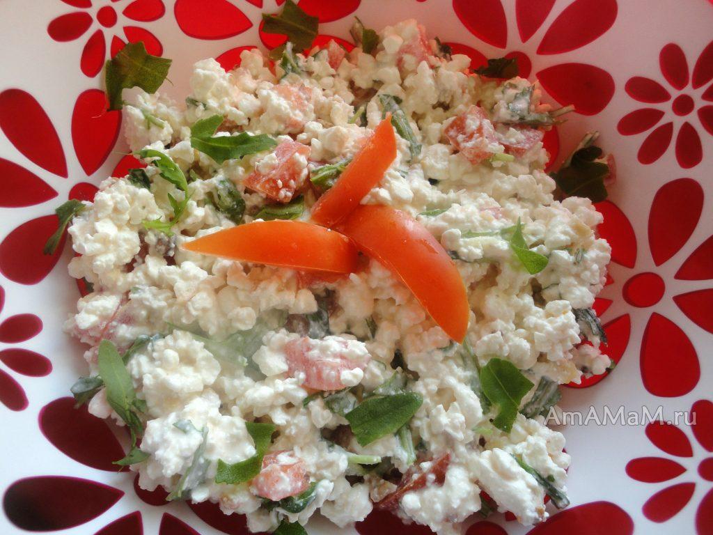 Приготовление вкусных салатов из рукколы - рецепт с творогом