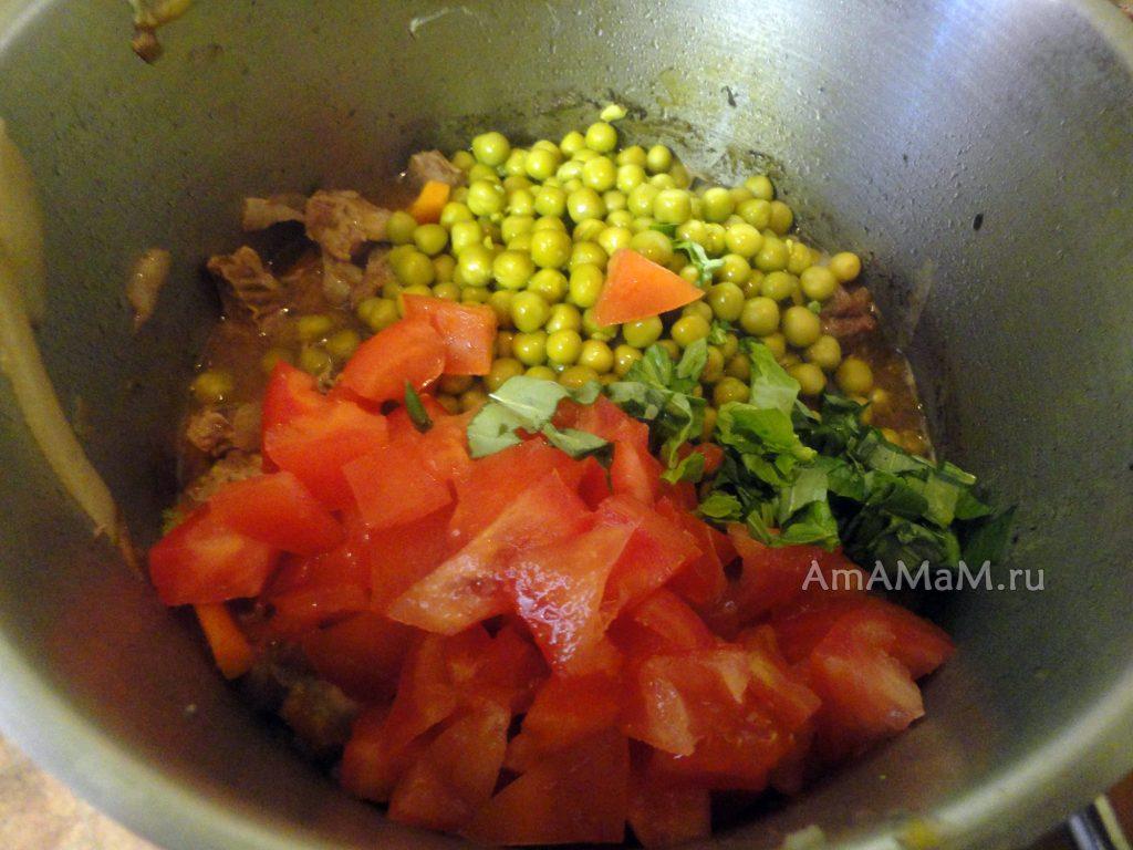 Тушеная диафрагма с овощами