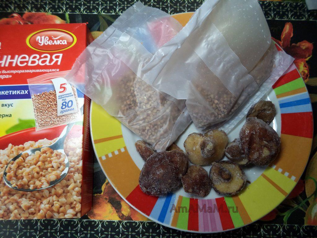 Гречневая каша с грибами - рецепт приготовления