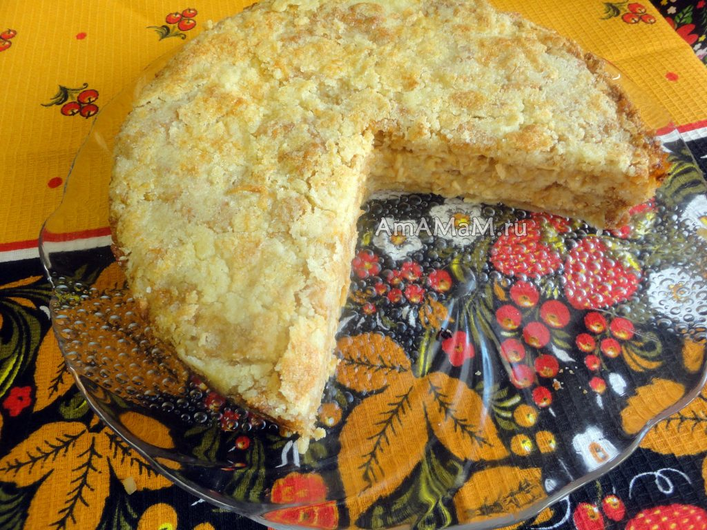 Приготовление яблочного пирога без яиц (насыпной)