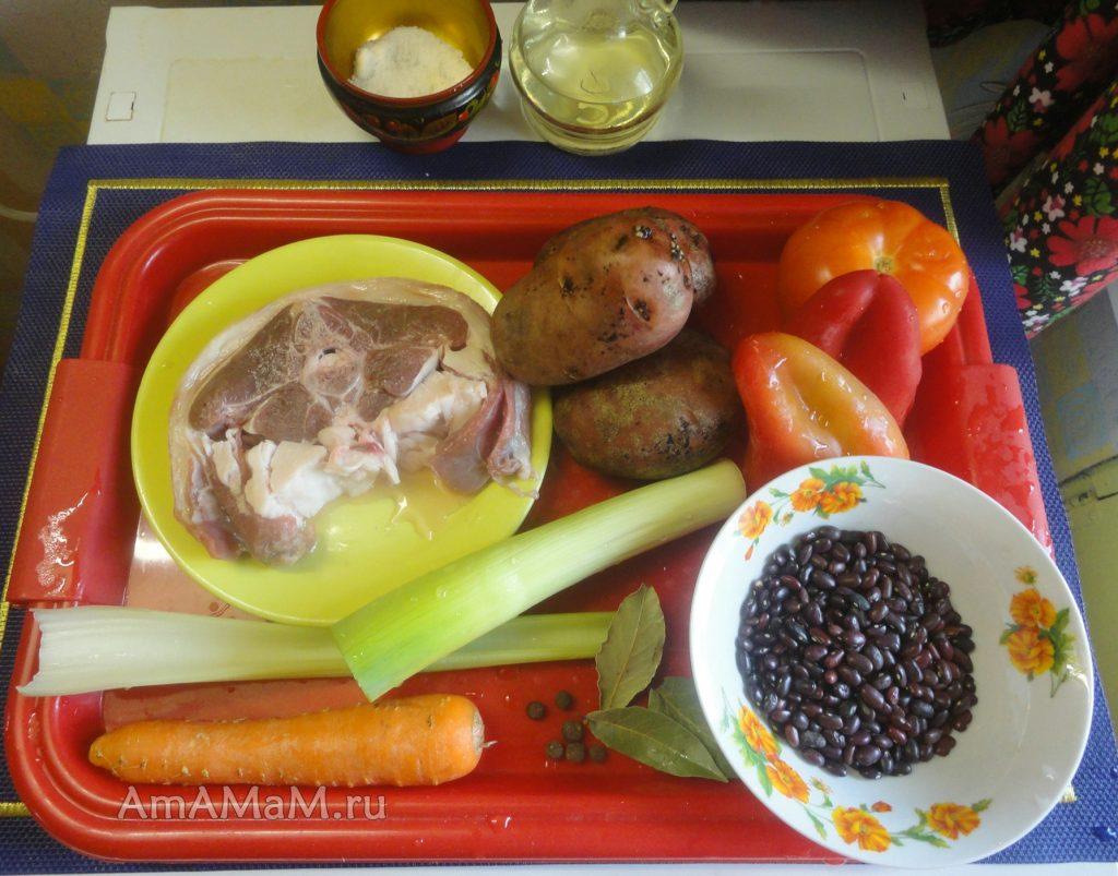 Ингредиенты супа из фасоли и баранины
