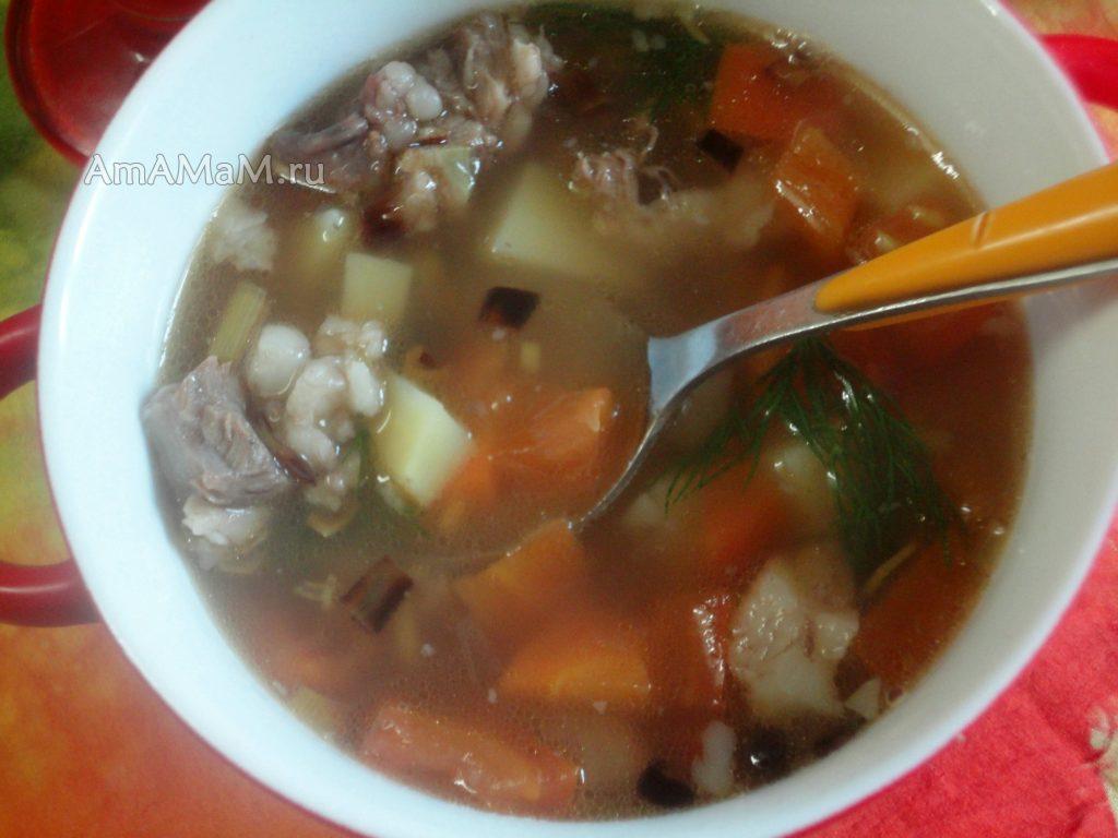 Рецетп домашнего супа из фасоли с мясом и фото приготовления
