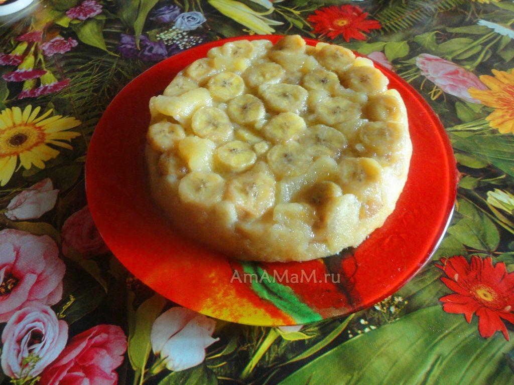 Приготовление пирога с бананами в карамели