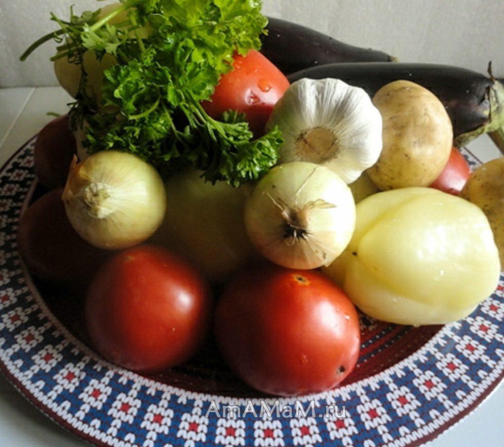Приготовление овощей с начинкой - состав рецепта