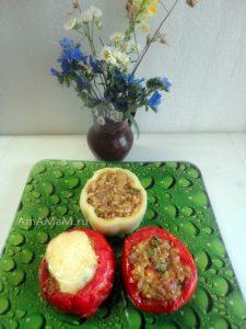 Запеченные овощи, фаршированные рисом с овощами