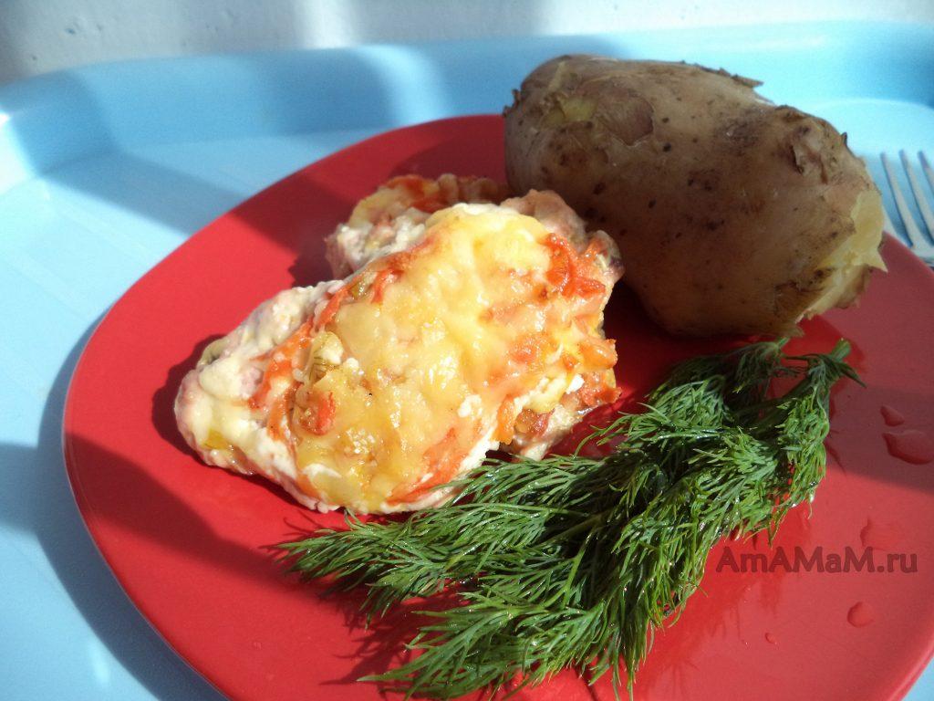 Ужин или обед из молодой картошки с горбушей и укропом