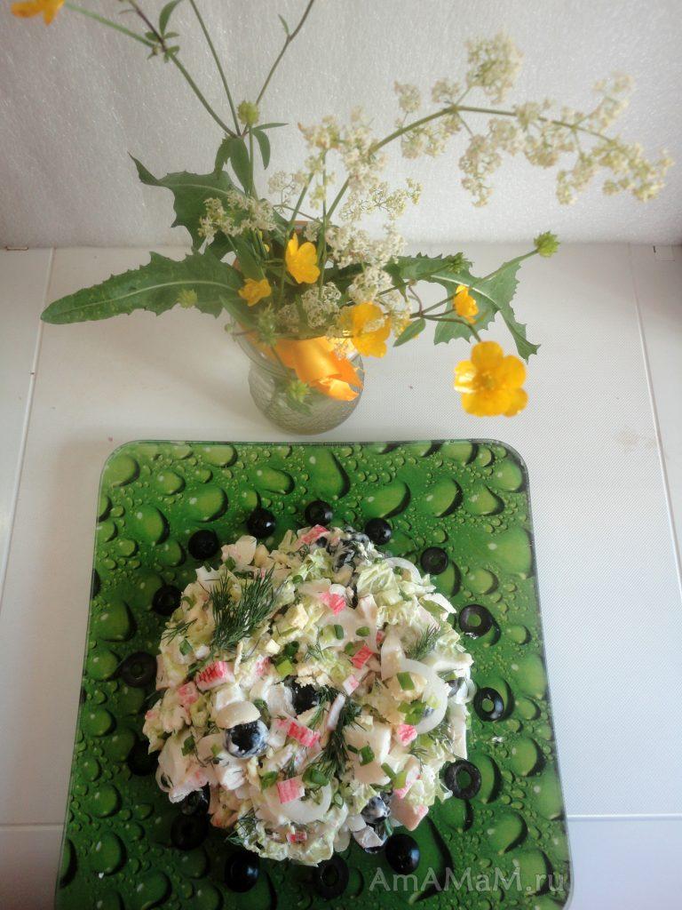 Рецепты салатов из кальмаров китайской капустой 161