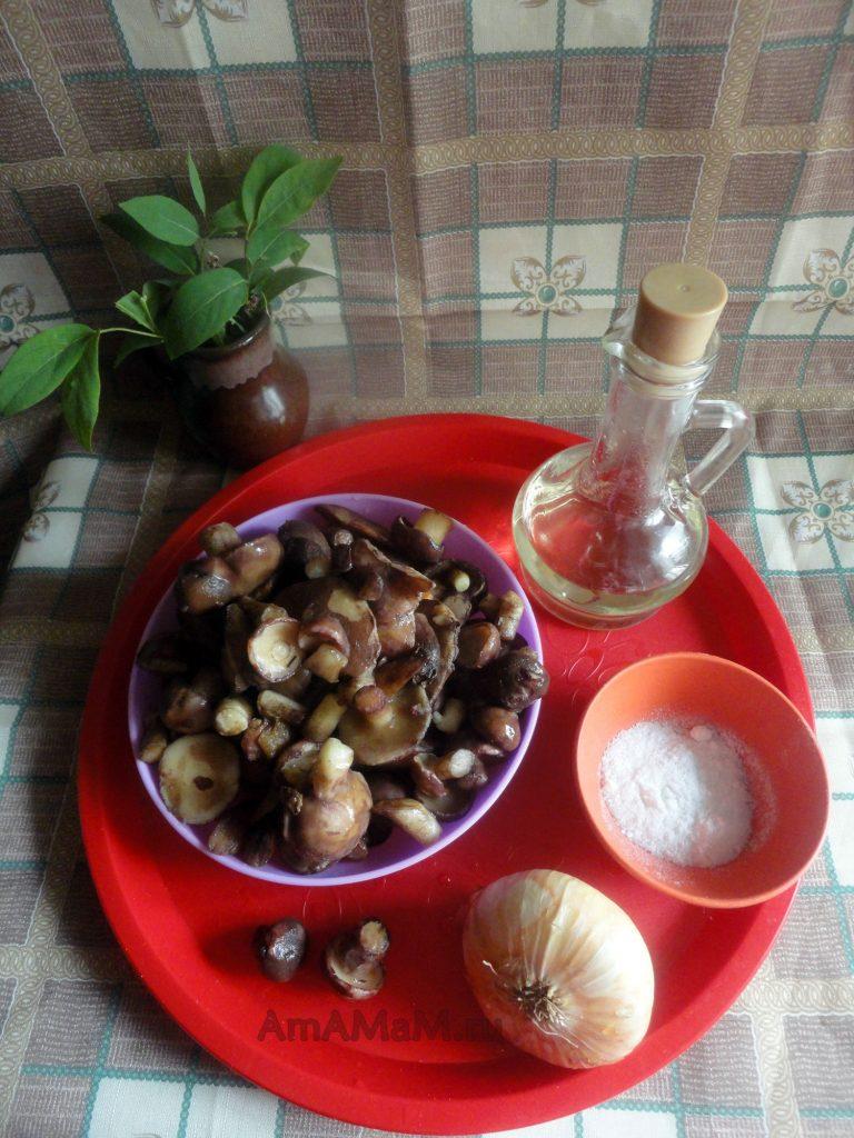 Способ приготовления жареных маслят и состав блюда