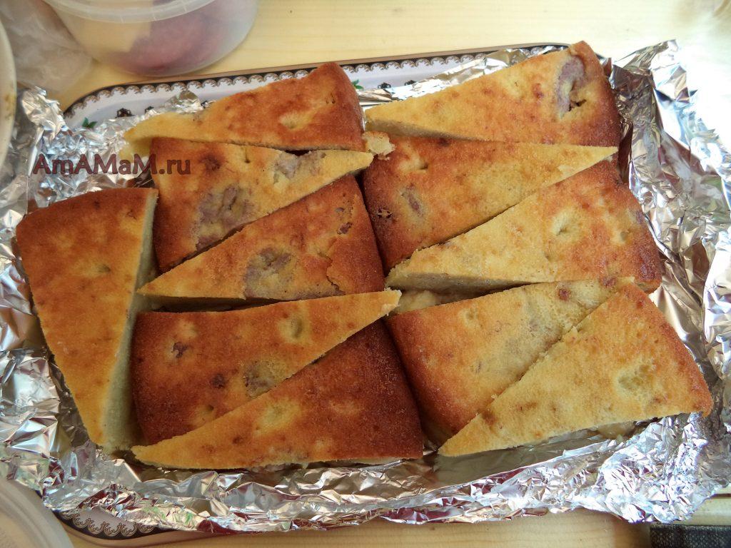 Приготовление блюд для шашлыков и пикника - яблочный пирог с бананами