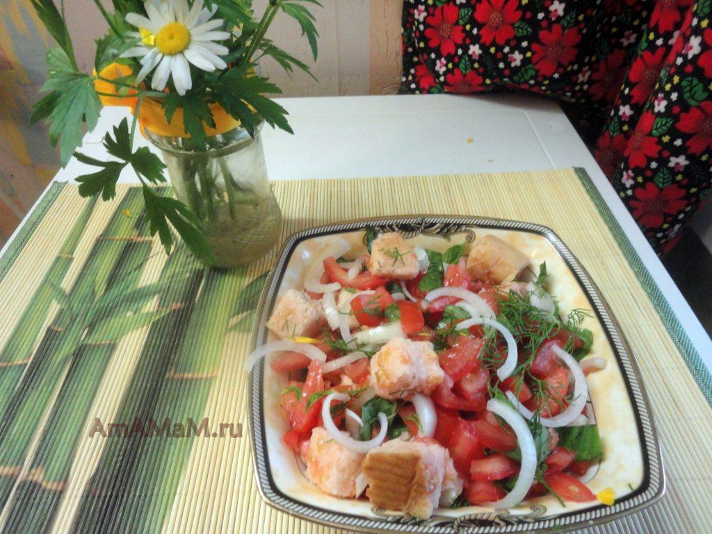 Рецепты салатов на скорую руку - помидоры с сухариками