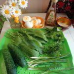 Блюда из щавеля- состав салата с вареными яйцами и огурцами