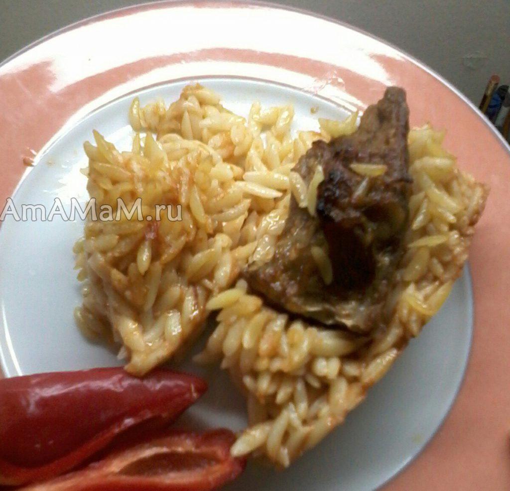 Рецепт запеченного в духовке блюда из мяса с мелкими макаронами и овощами