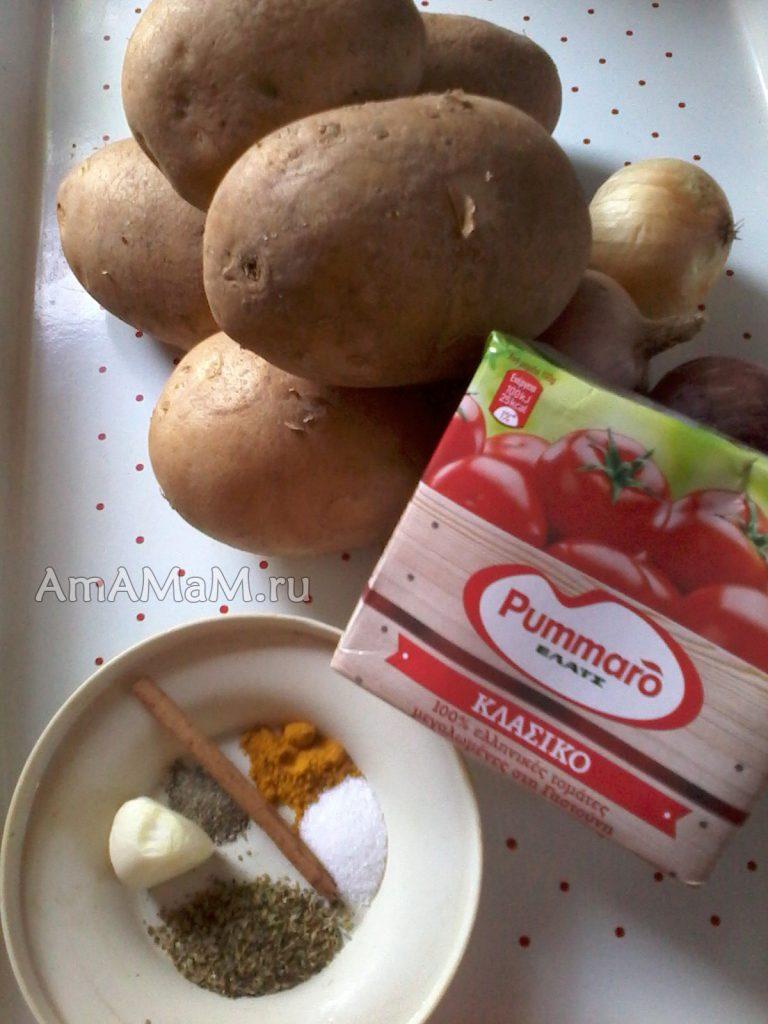 Рецепт тушеного картофеля - ингредиенты блюда
