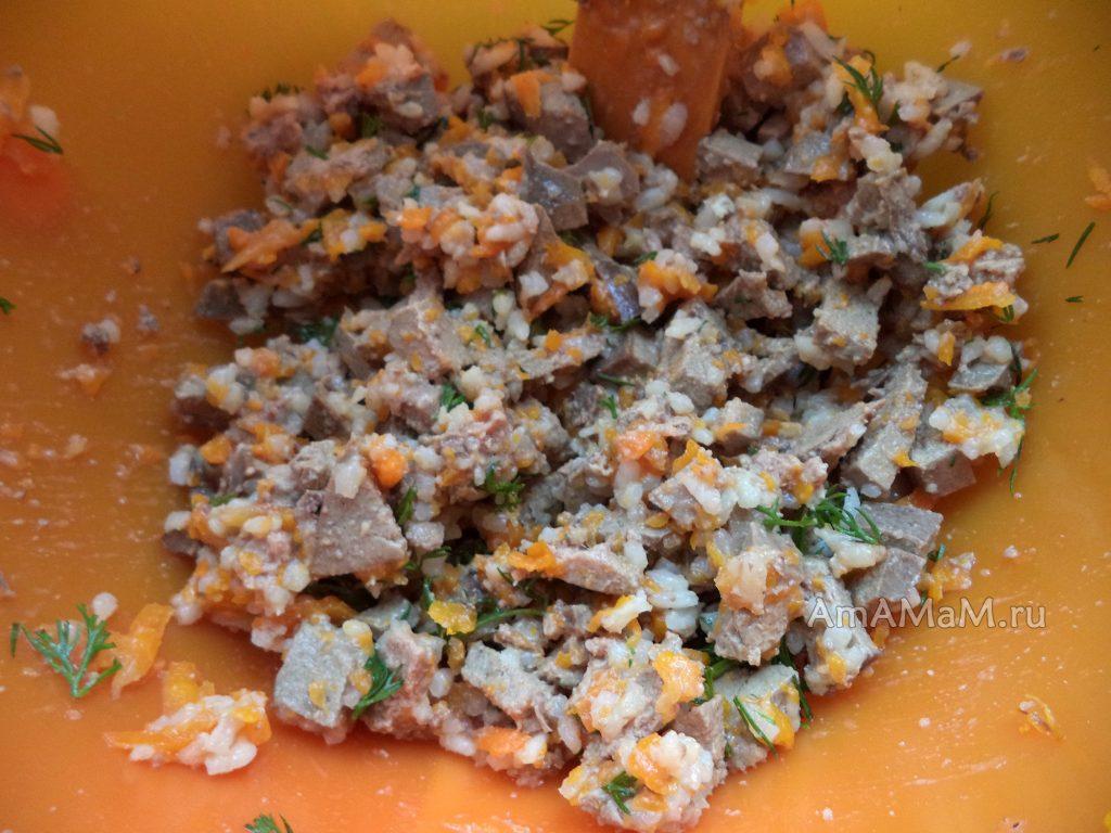 Рецепт начинки из печени и риса для пирожков