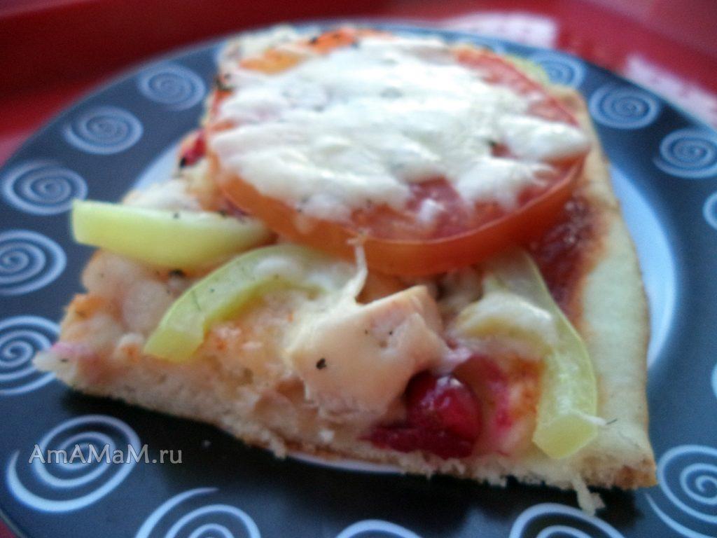 Домашняя пицца с курицей и ягодами - рецепт